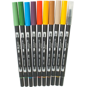 10 Peice Secondary Dual Brush Pen Set - 56168