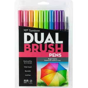 10 Peice Bright Dual Brush Pen Set - 56185