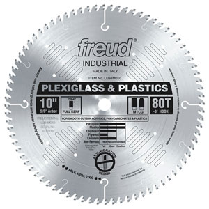 "10"" Industrial Plexiglass & Plastic Saw Blade"