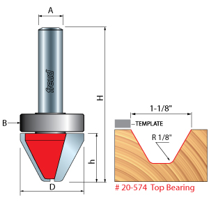 Top Bearing Lettering Router Bit