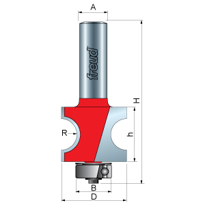 Half Round / Bull Nose Router Bit with bearing