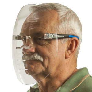 X-Shield Vented Full Clear Face Shield - X1-VC-1 on person
