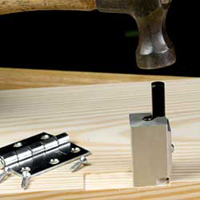 This easy to use spring loaded chisel instantly squares round corners on hinge mortises. Made of hardened steel that stays sharp. Just tap lightly with a hammer for a perfectly squared corner. Ideal for use with our hinge mortising system above.