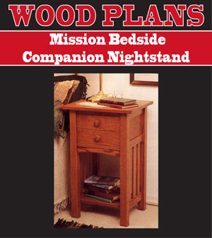 Mission Bedside Companion Nightstand Woodworking Plan