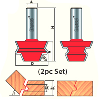 2 Piece Locking Joint Router Bit Set