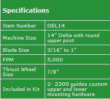 "Delta 14"" Carter Guide Conversion Kit  Specifications"