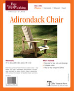 American outdoor chair has a curved seat and back for added comfort. It is also lightweight, so your back shouldn't suffer as you move it around the yard. Assembled with screws, this chair has step by step instructions for assembling the seat, back, side, and leg assemblies. Once completed and given a good coat of finish, it should be happy outside for years to come. Included with the project article is a gallery of Adirondack chair designs.