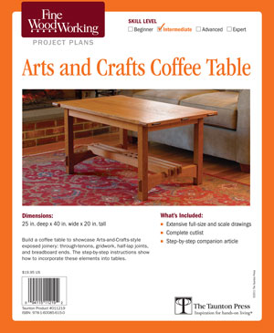 Arts And Crafts Style Coffee Table Plans